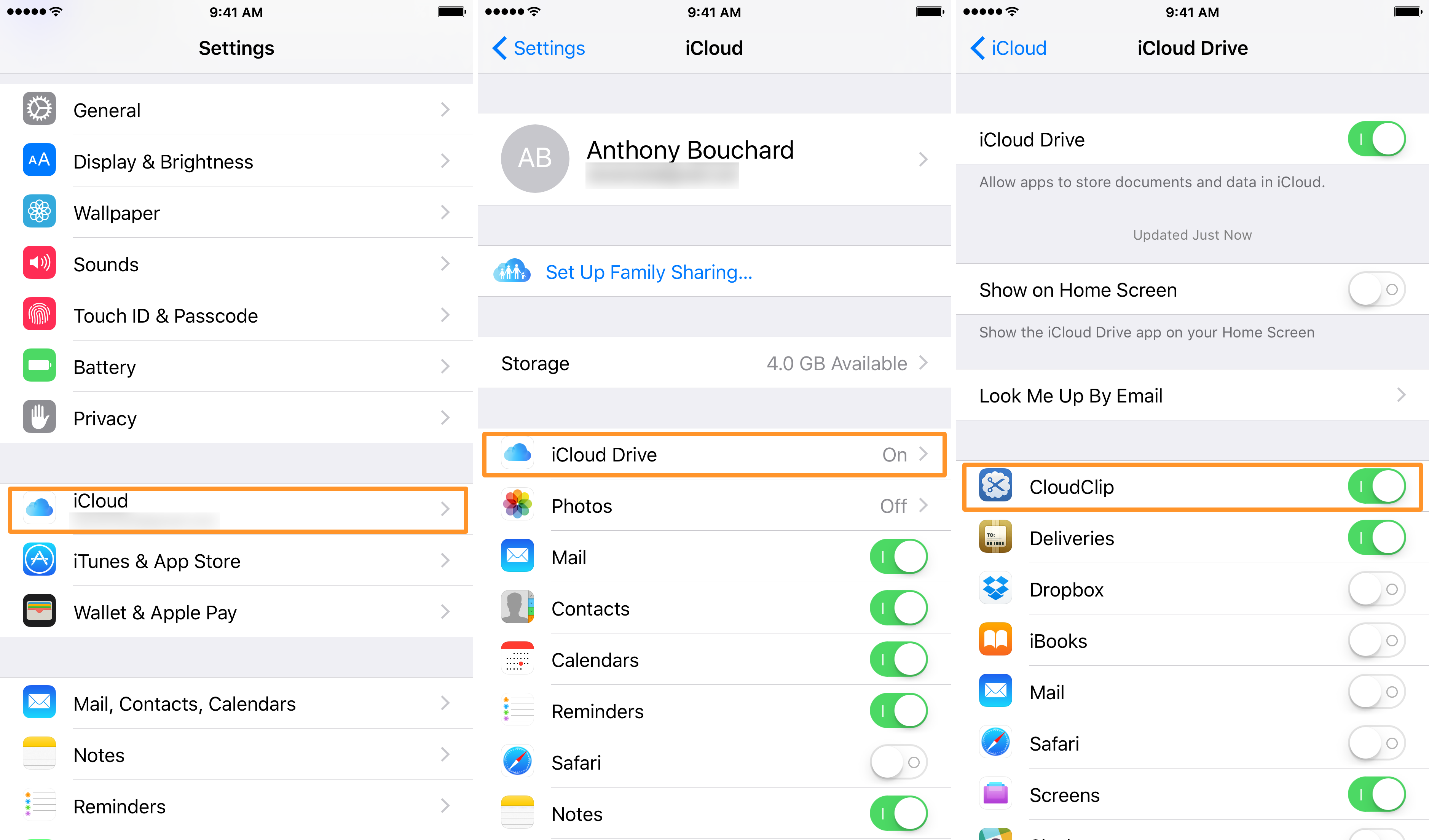CloudClip iCloud Drive Settings on iPhone