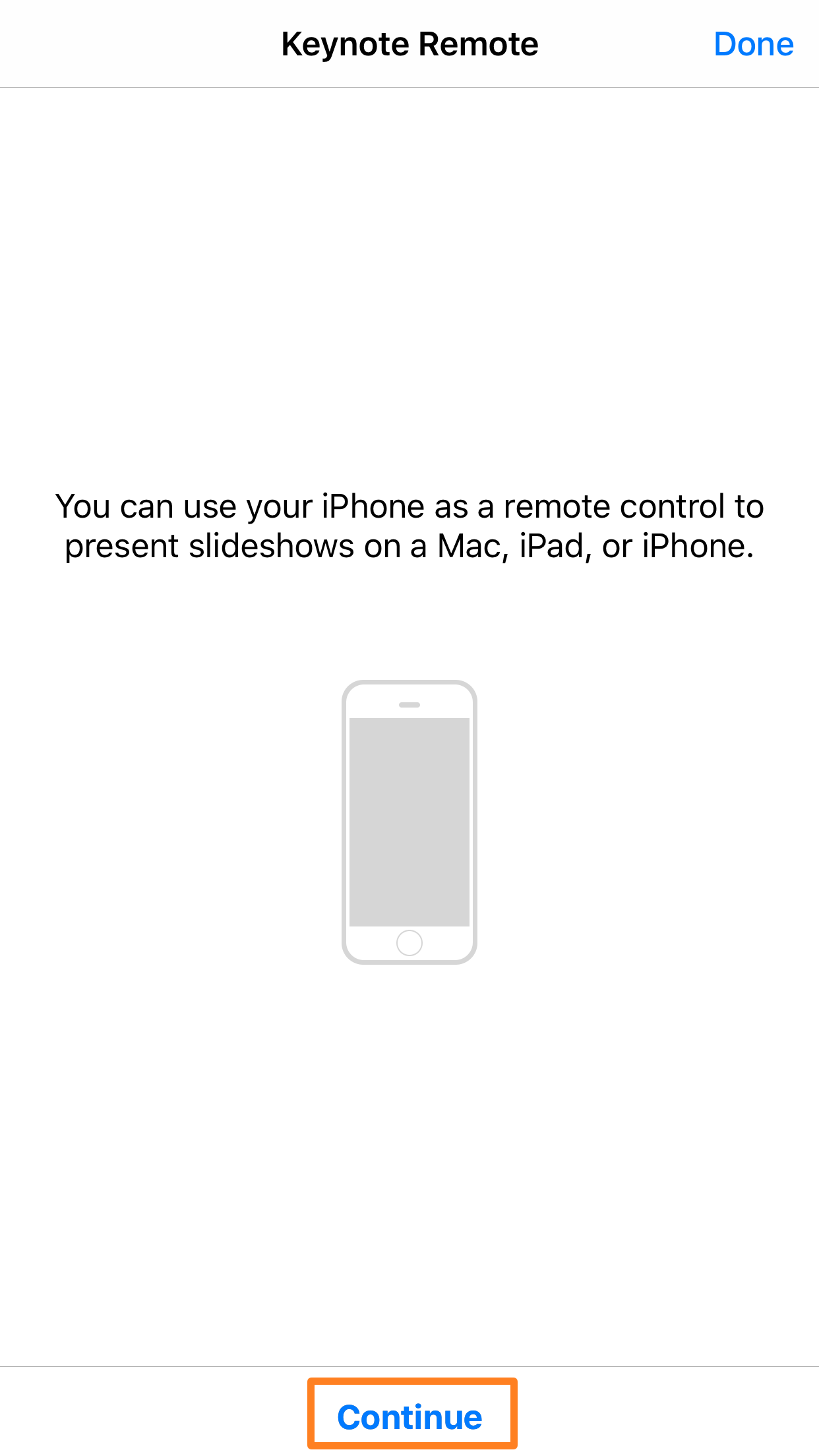 Continue With Keynote Remote iOS