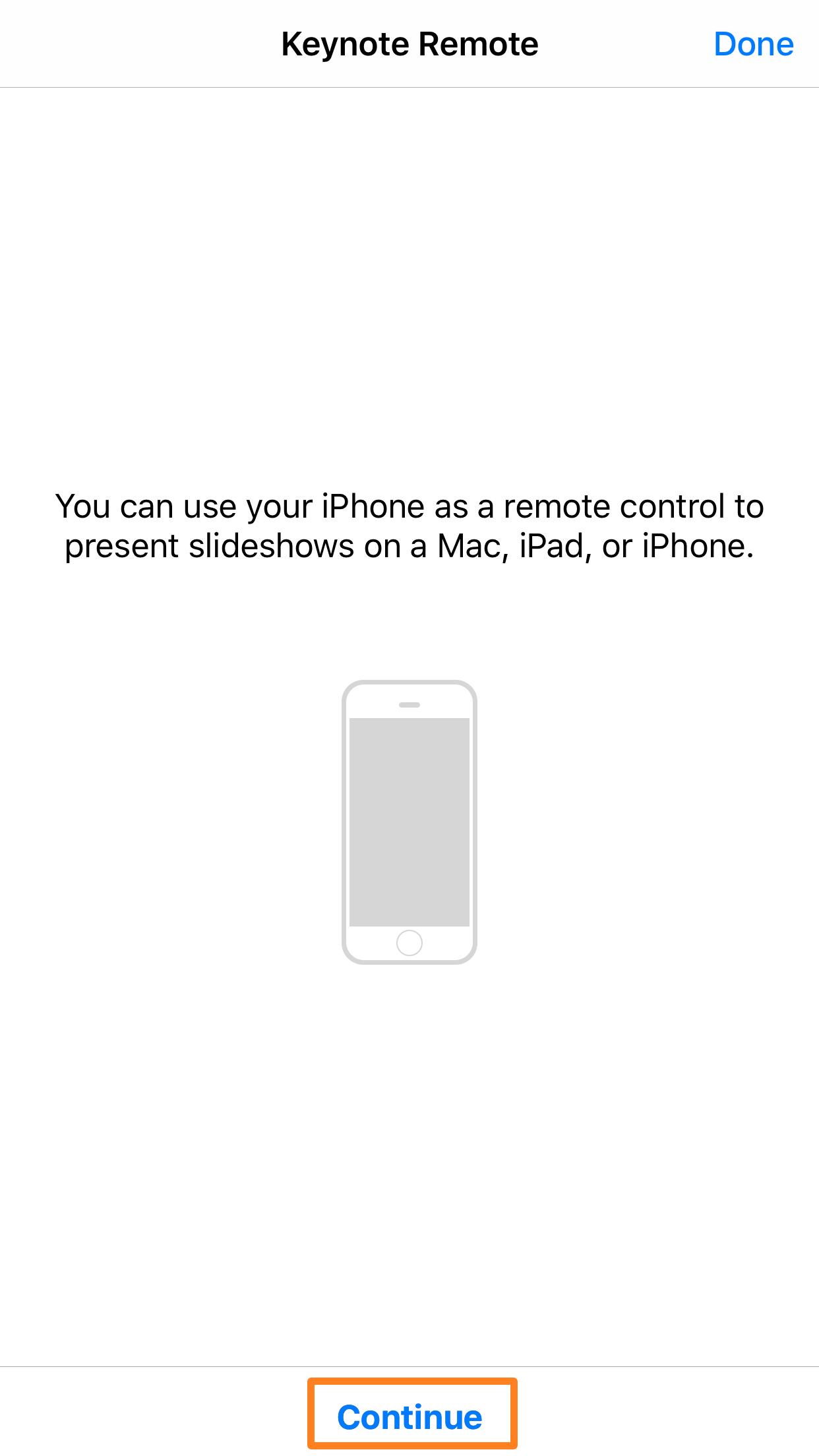 Continuar con Keynote Remote iOS