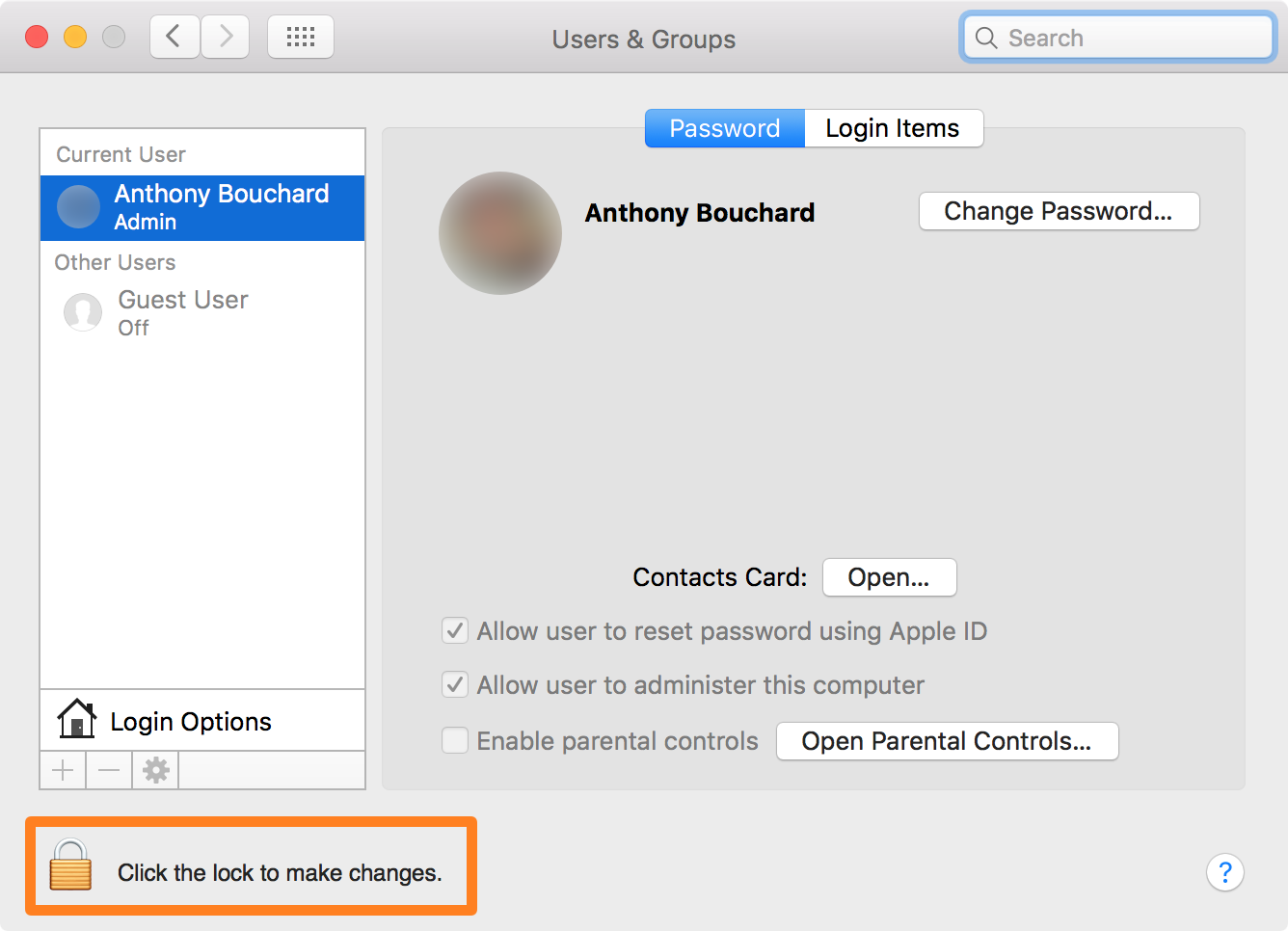 Create an admin on a Mac click the lock to make changes