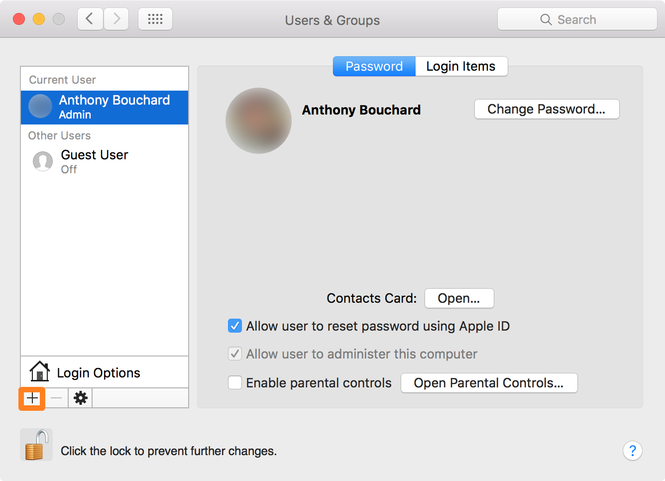 Create new admin user on Mac Plus Button