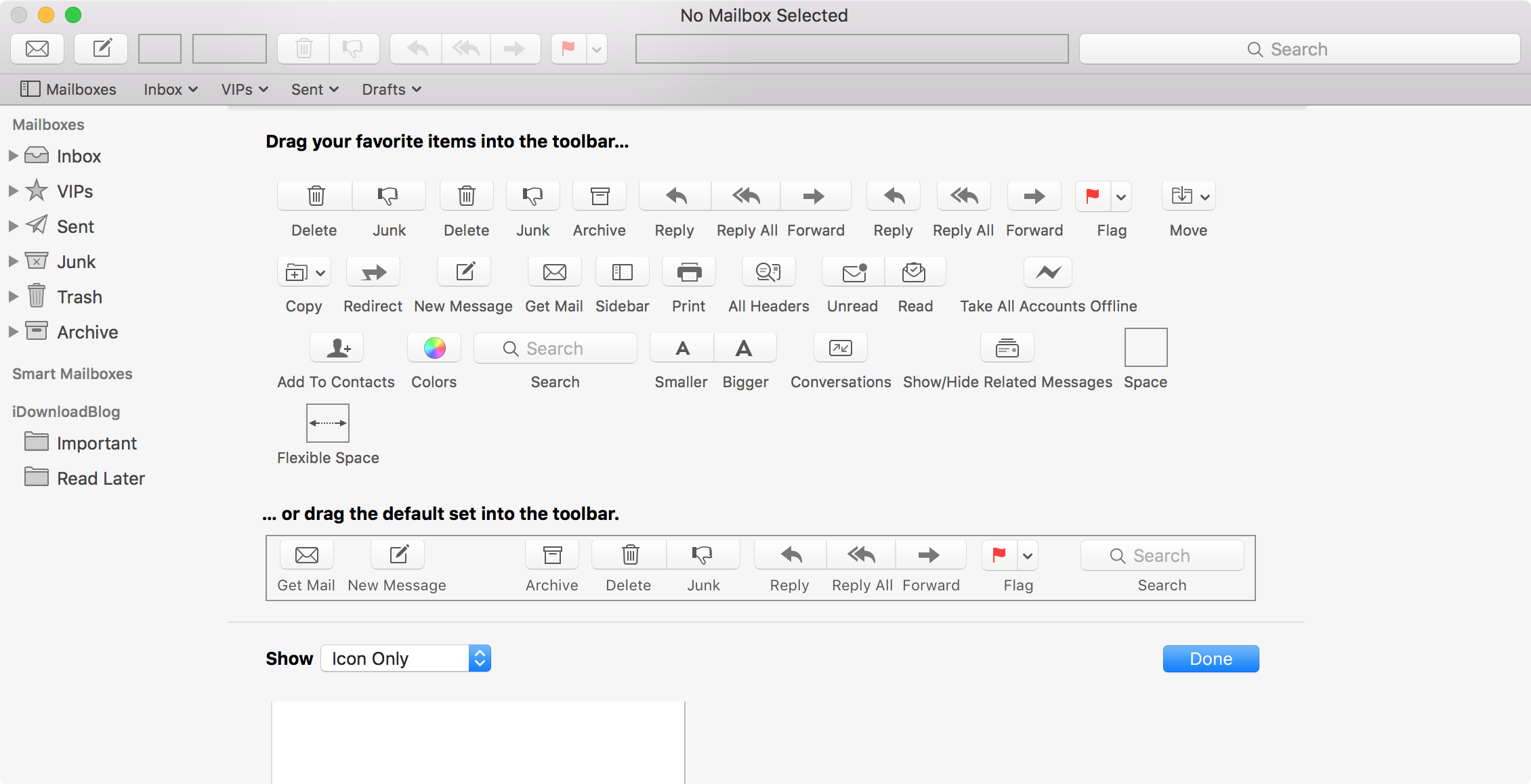 Customizing Mail Mail App Toolbar Interface