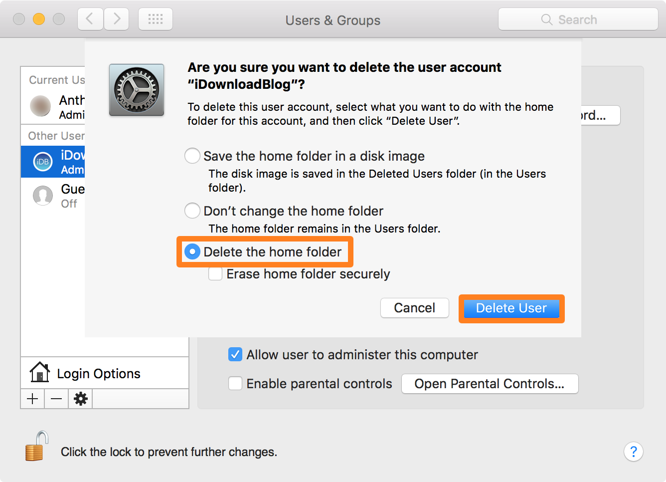 Delete Admin Account Mac Home Folder