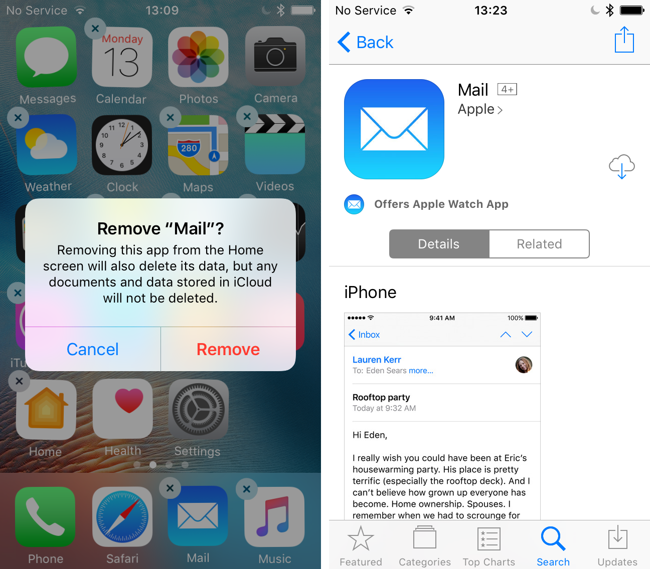 Delete install stock mail ios 10