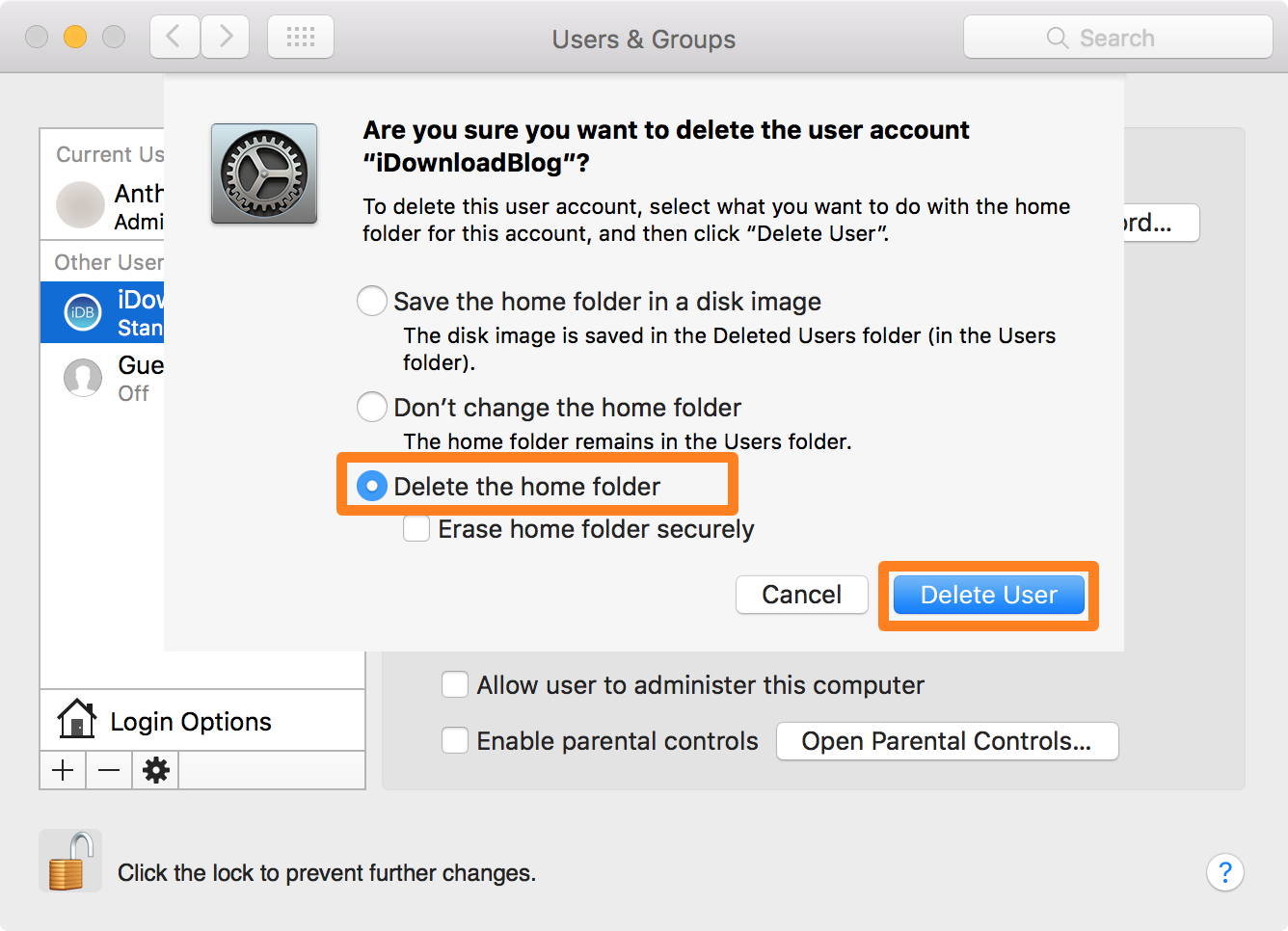 delete user account Mac - Home Folder
