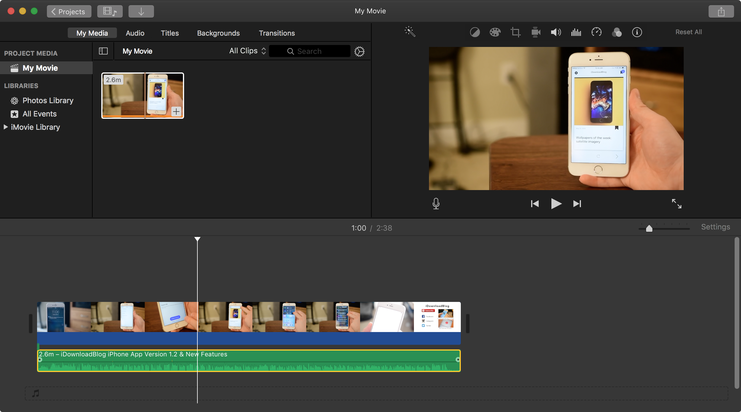 Detached Green Audio Clip in iMovie