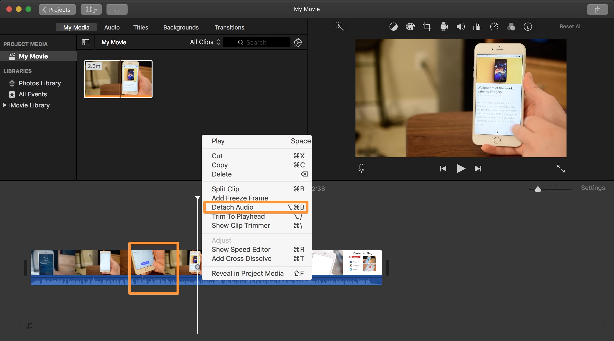Detatch Audio in iMovie