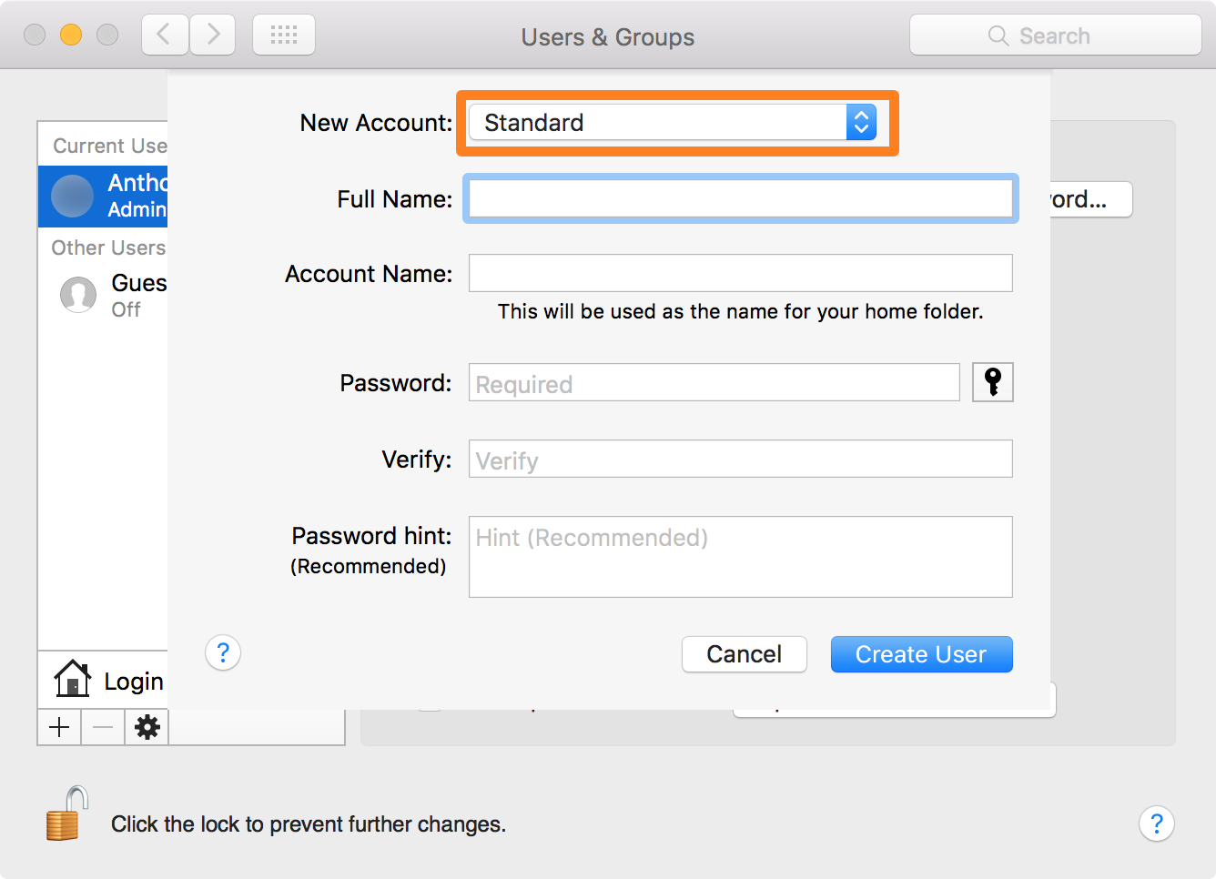 Elevate user account creation to admin on MAc