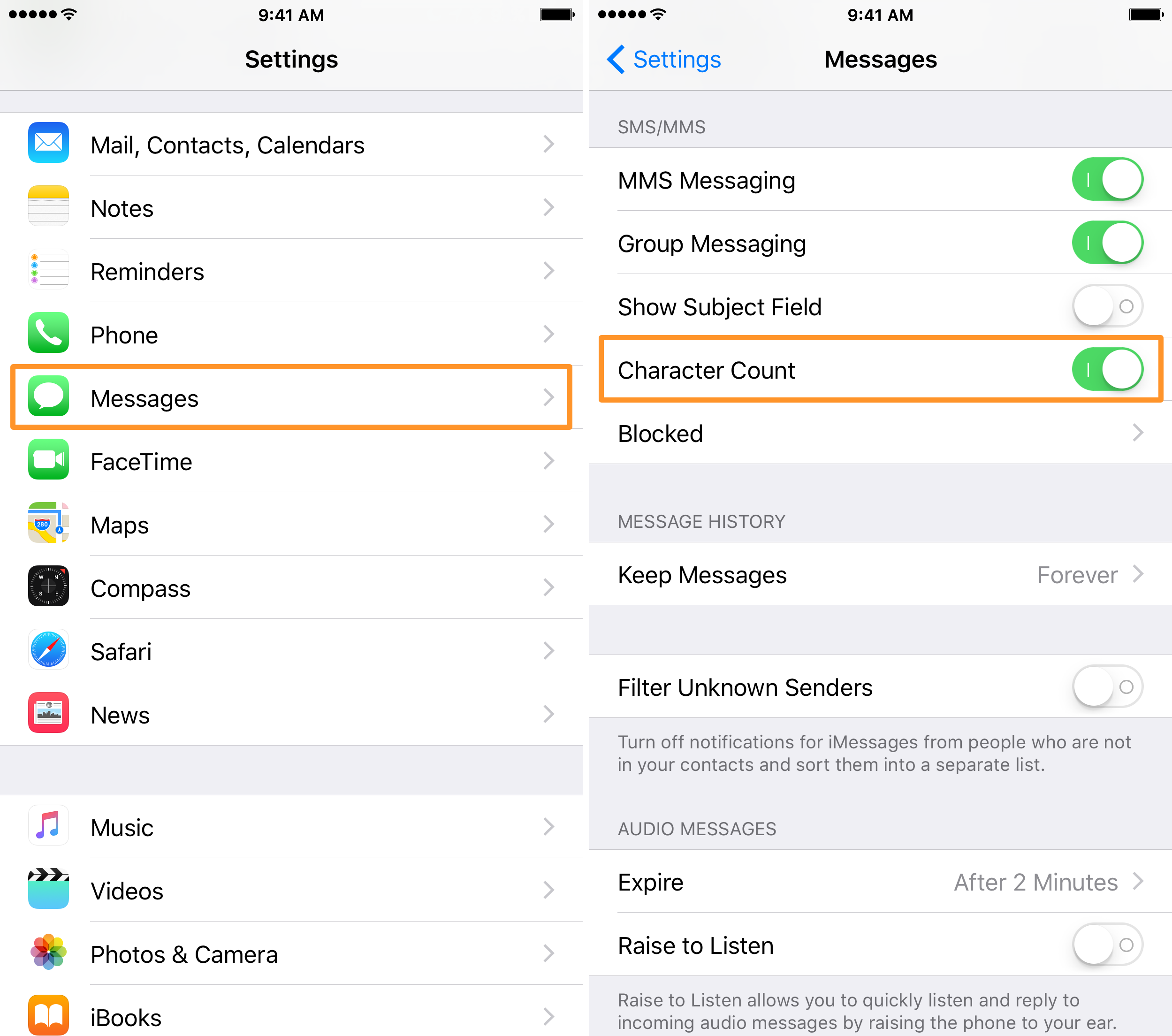 Enable Character Count iPhone Messages App