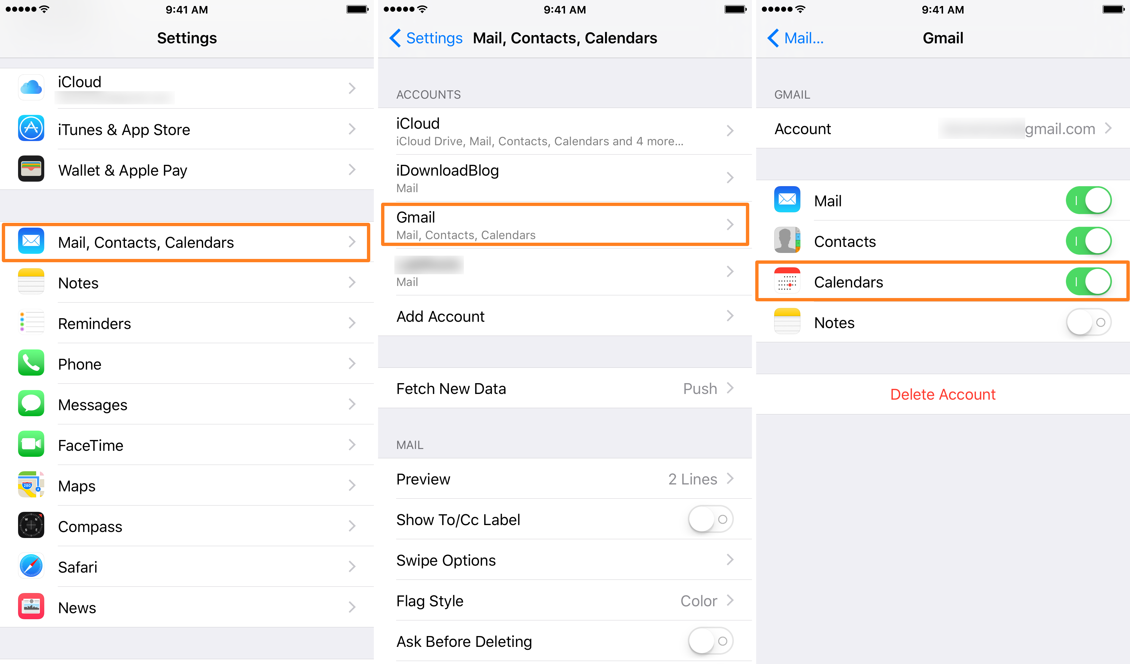Enable Google to Access iOS Calendars in Account Settings