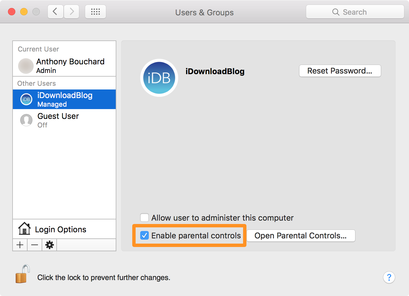 Enable Parental Controls on mac for a Standard Account