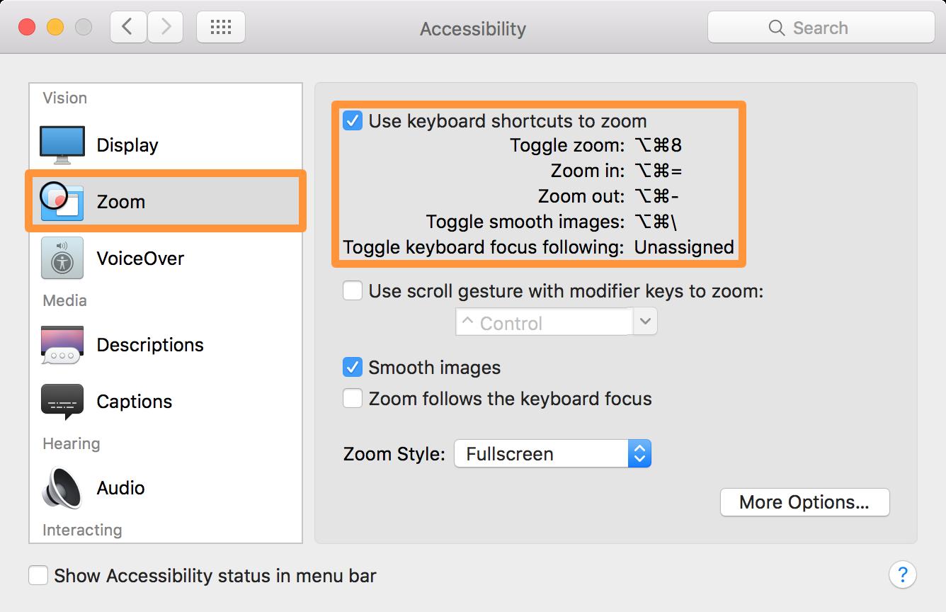 Enable screen zoom mac