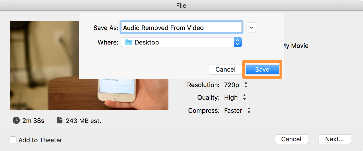 remove sound from video imovie