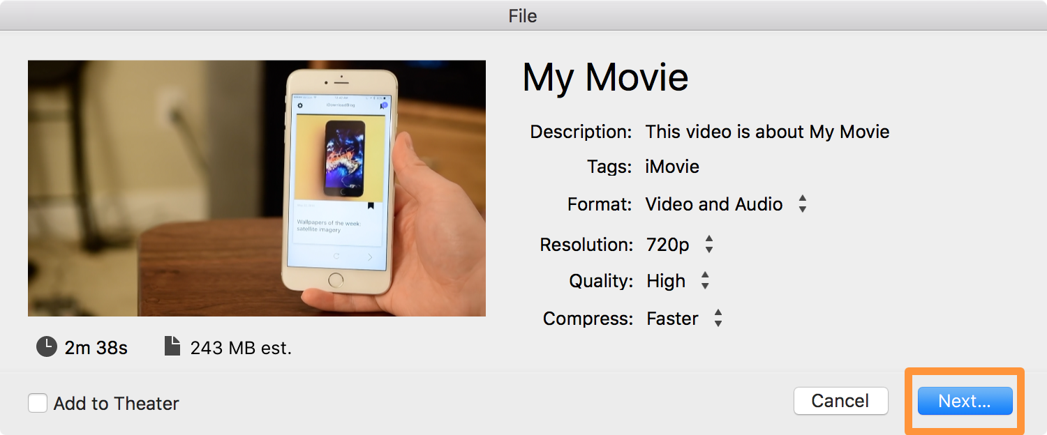 Exporting audioless video in iMovie 1