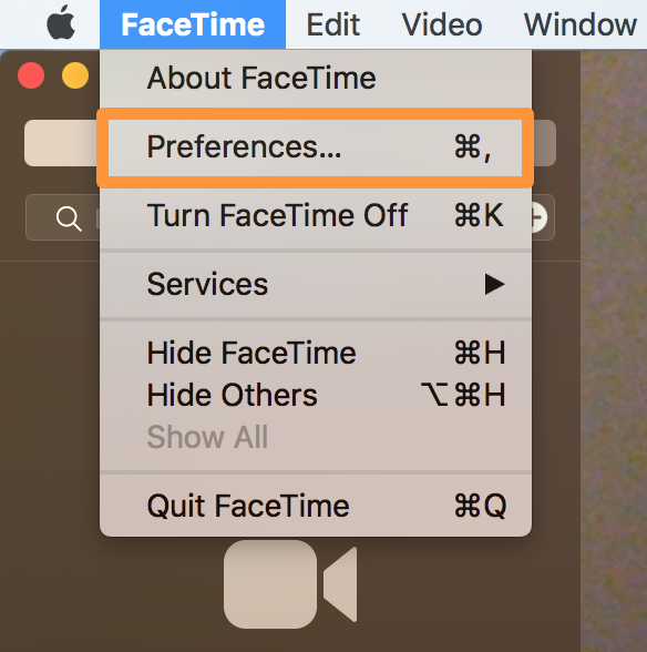 FaceTime Preferences on Mac