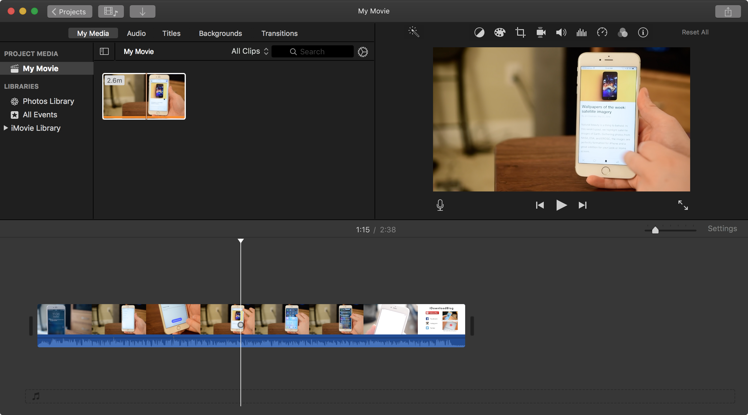 File loaded into iMovie timeline
