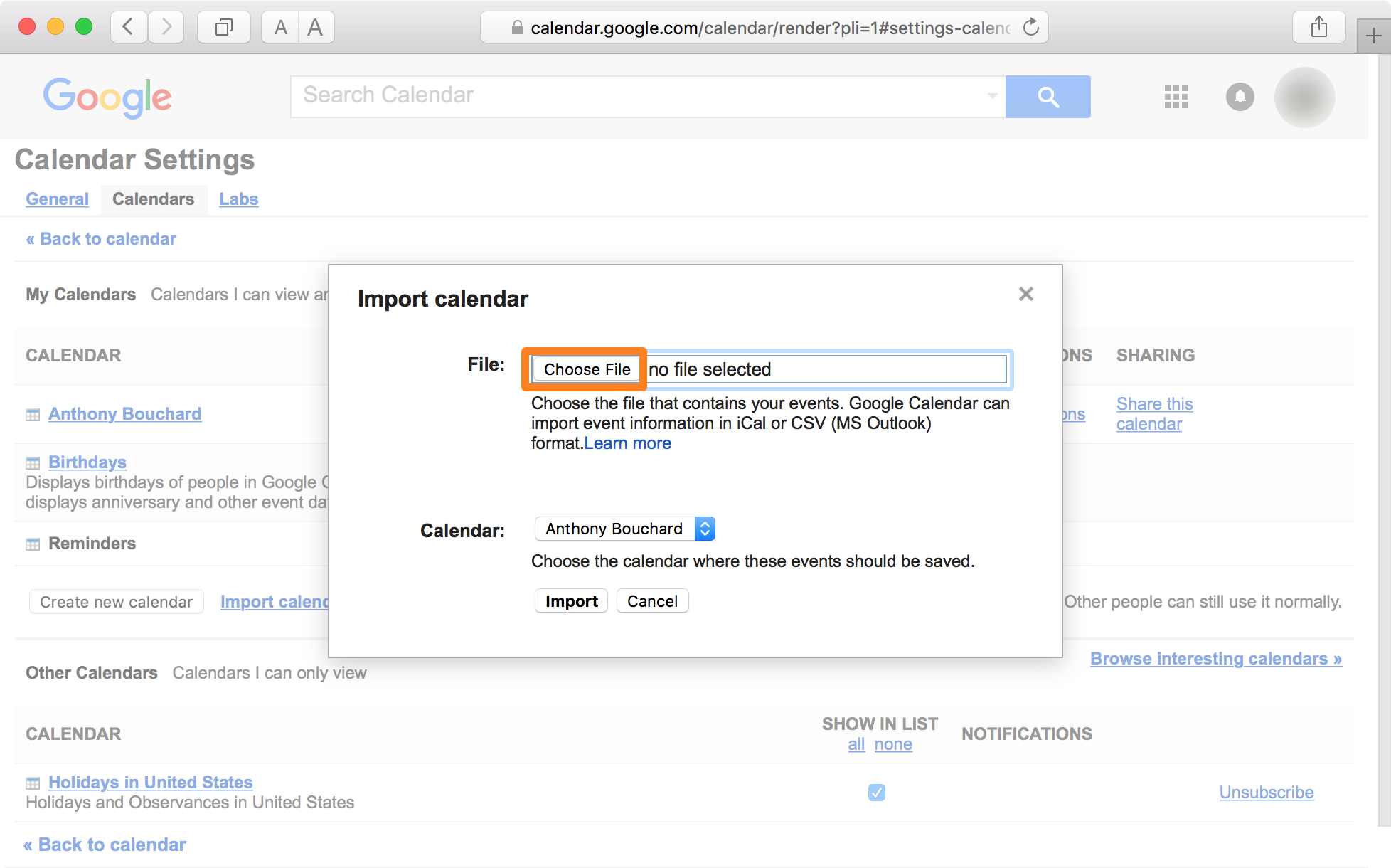 Google Calendar Safari Choose File