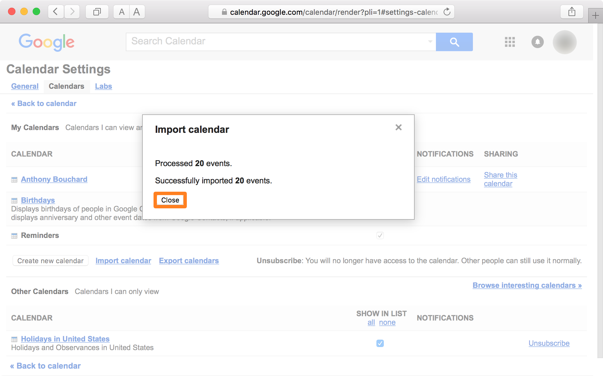 Google Calendar Safari Close