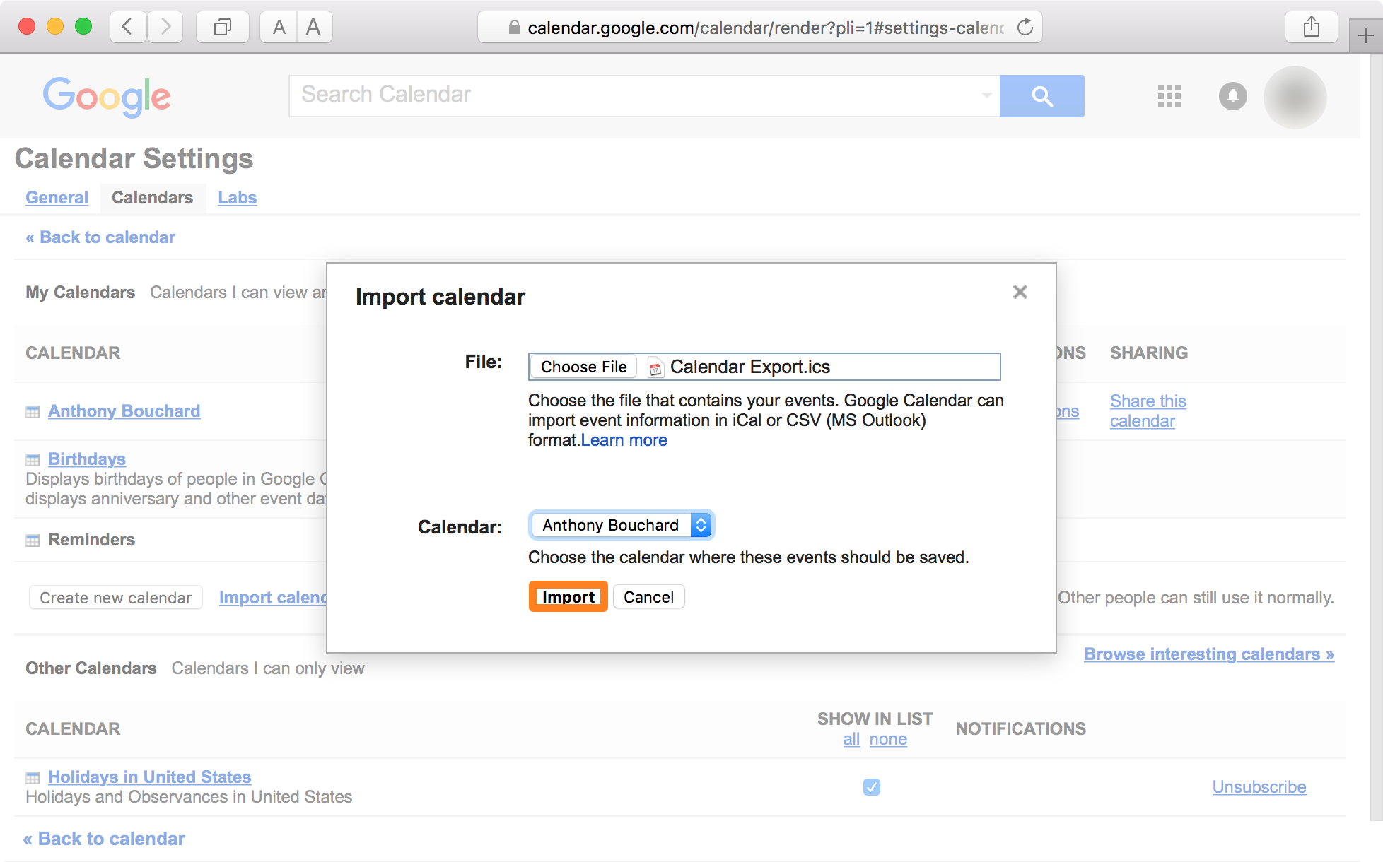 Google Calendar Safari Import