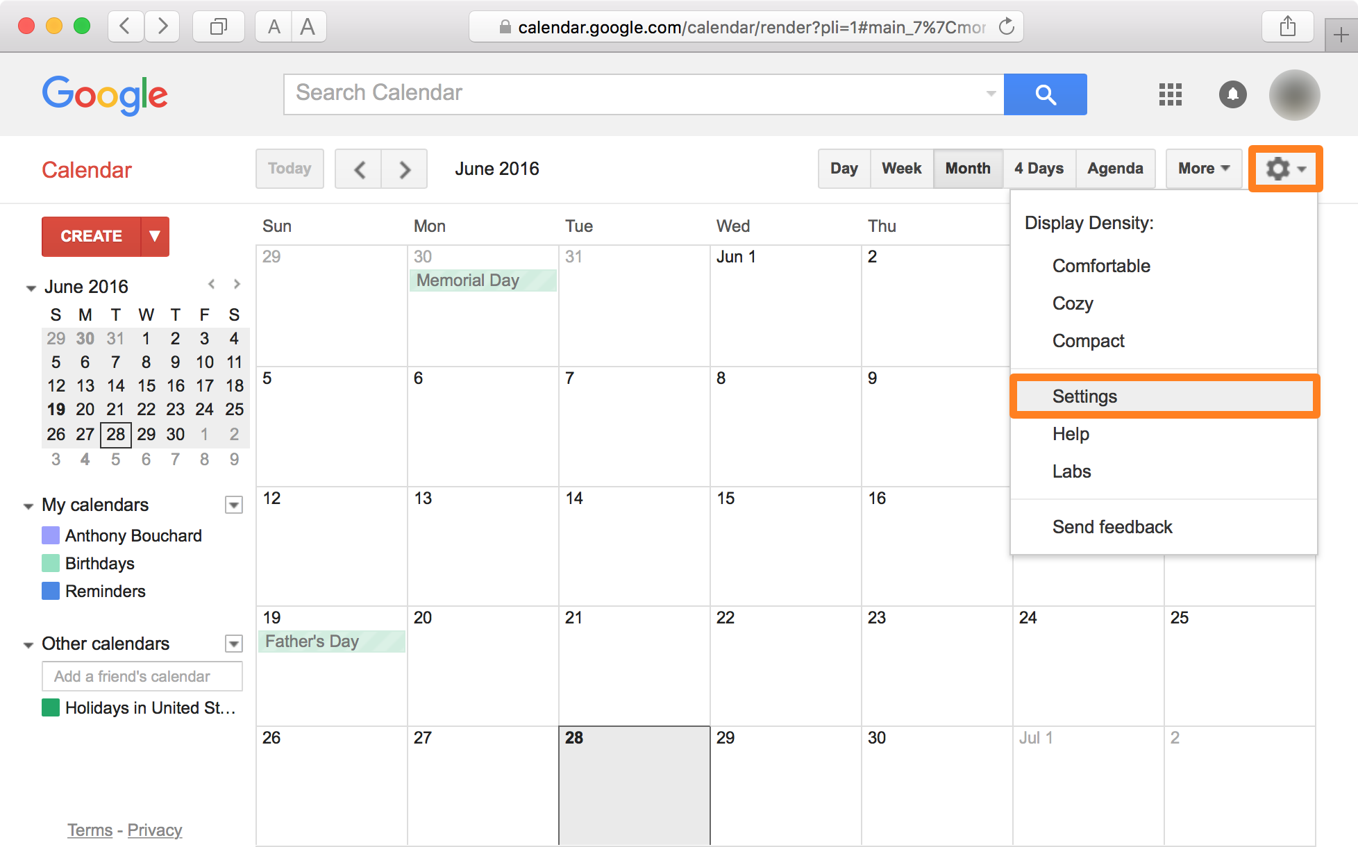 Google Calendar Safari Settings