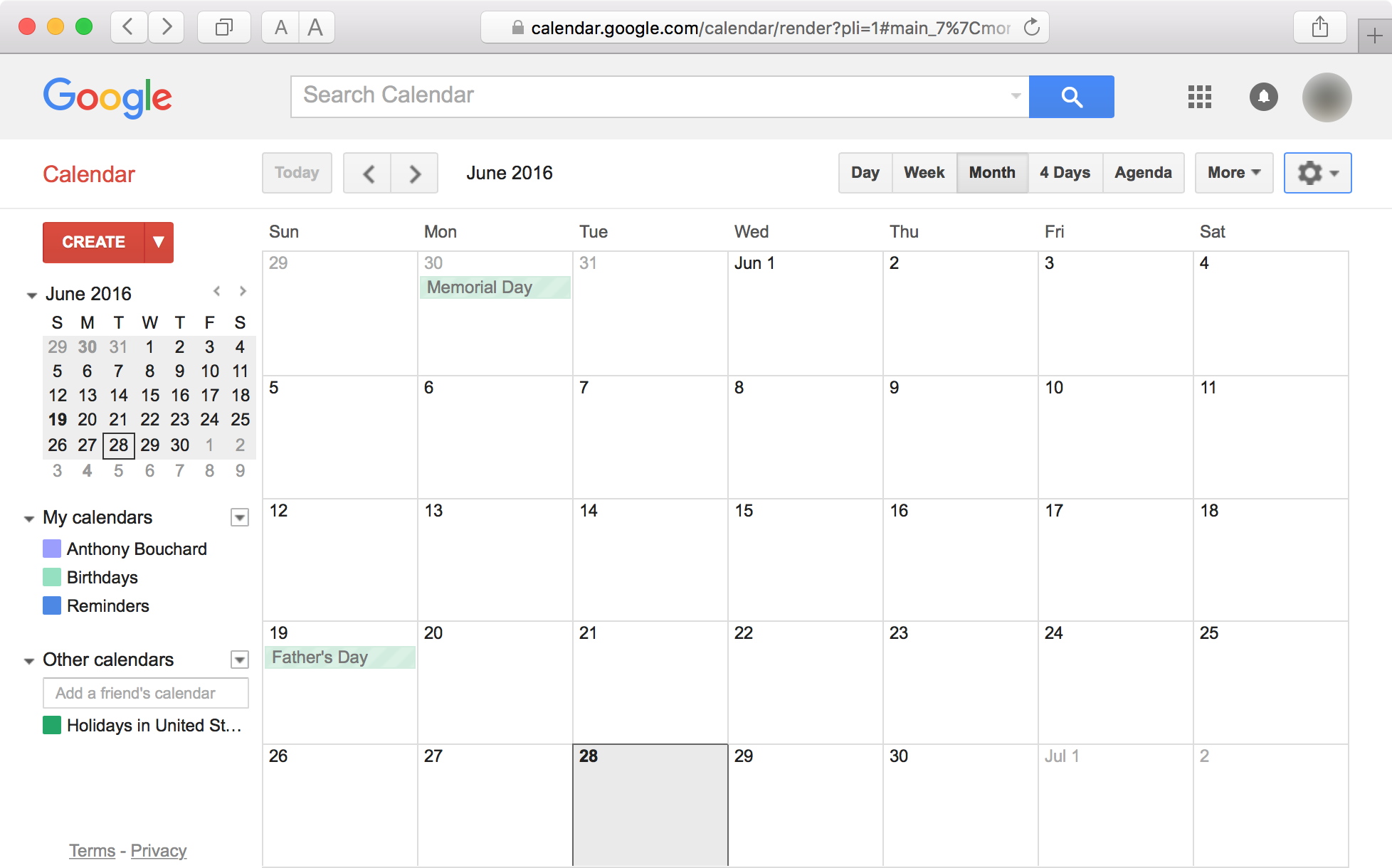 Safari de Google Calendar