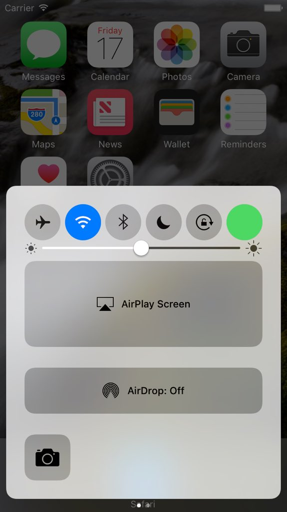 Cellular Data toggle in Control Center in iOS 10