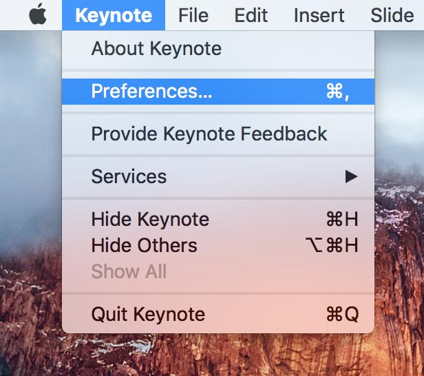 Barra de menú de preferencias de Keynote