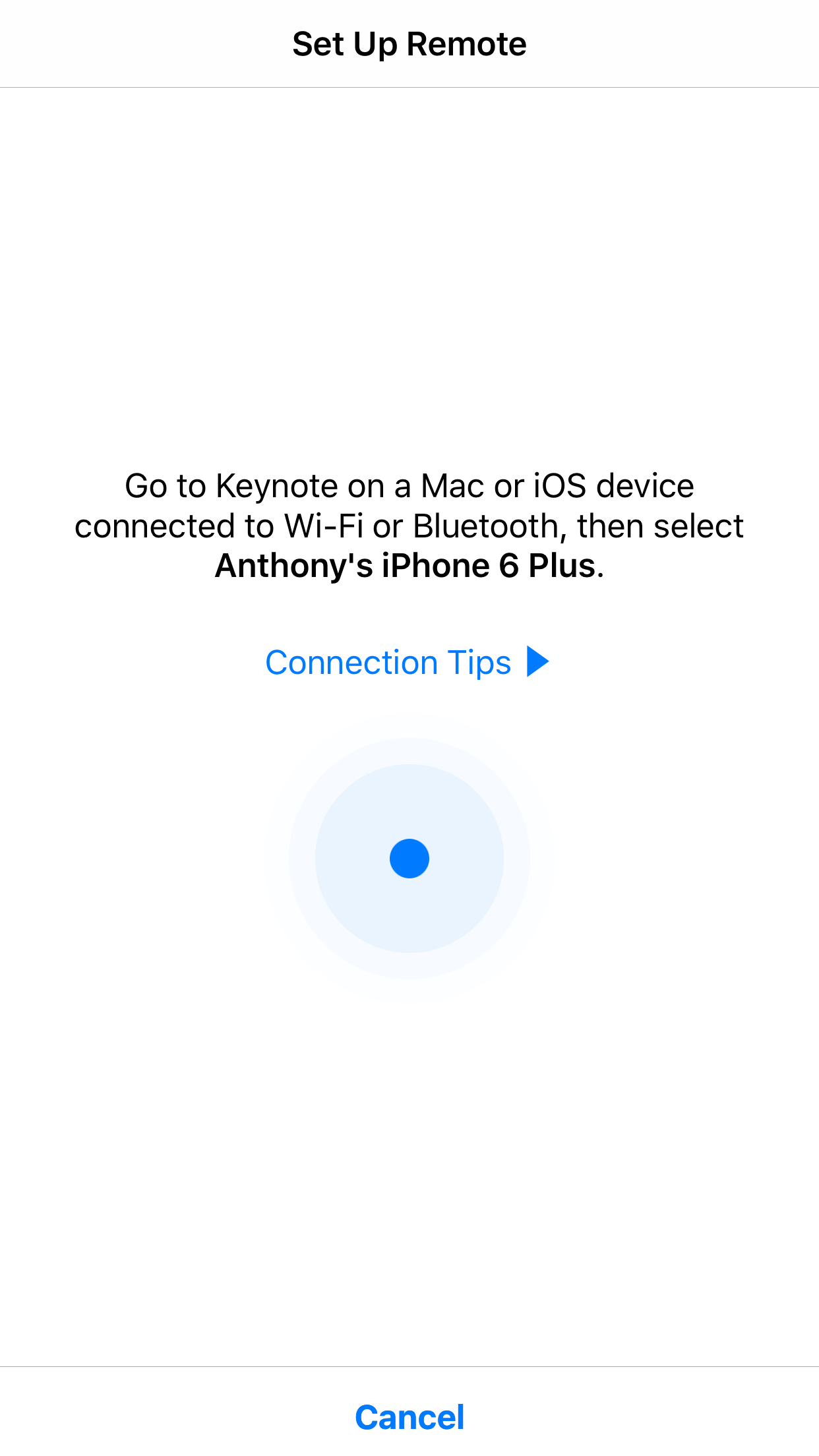 Keynote iOS app pair as a remote