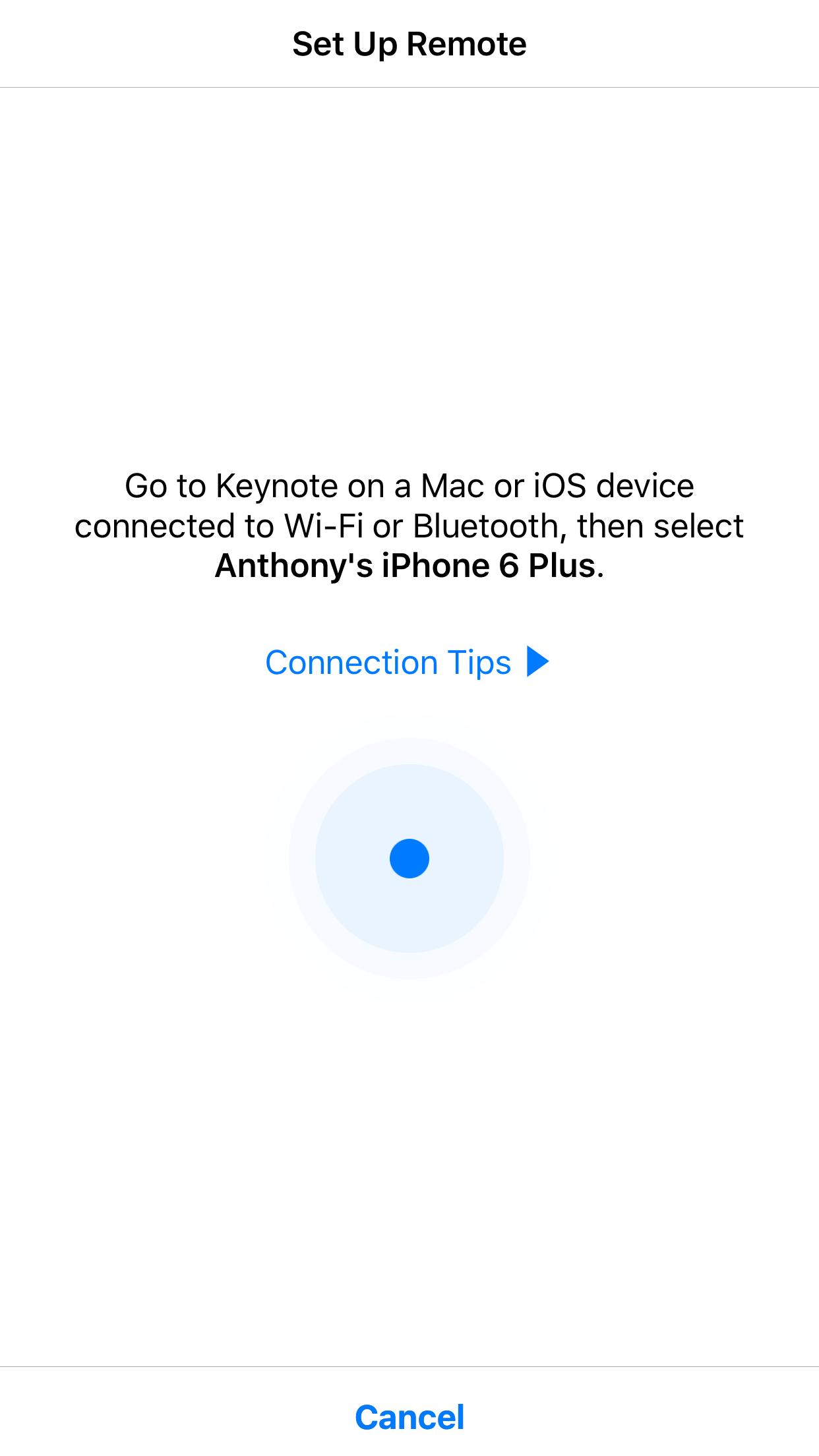 Par de aplicaciones iOS Keynote como control remoto
