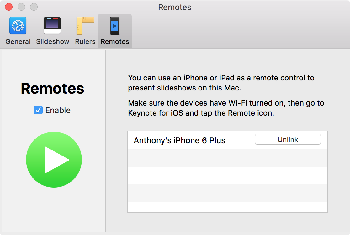 Keynote iOS device linked successfully