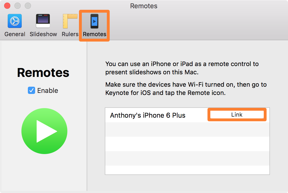 Link a Keynote Remote Mac Preferences