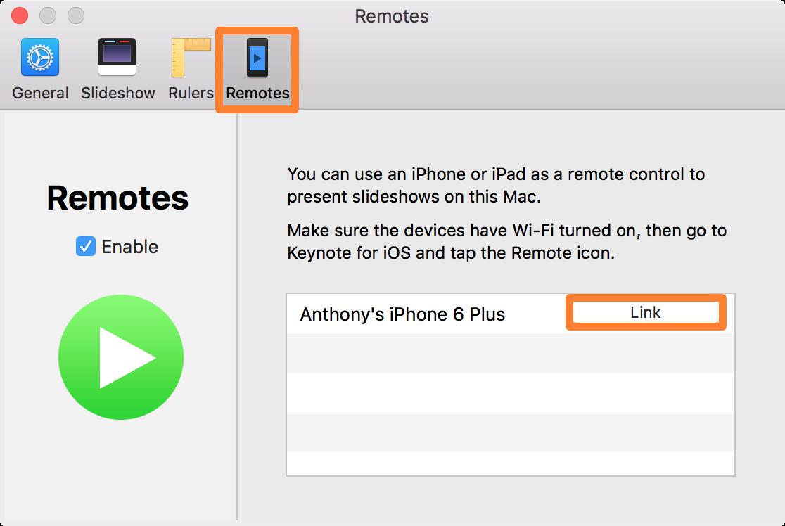 Vincular las preferencias de Mac de Keynote Remote