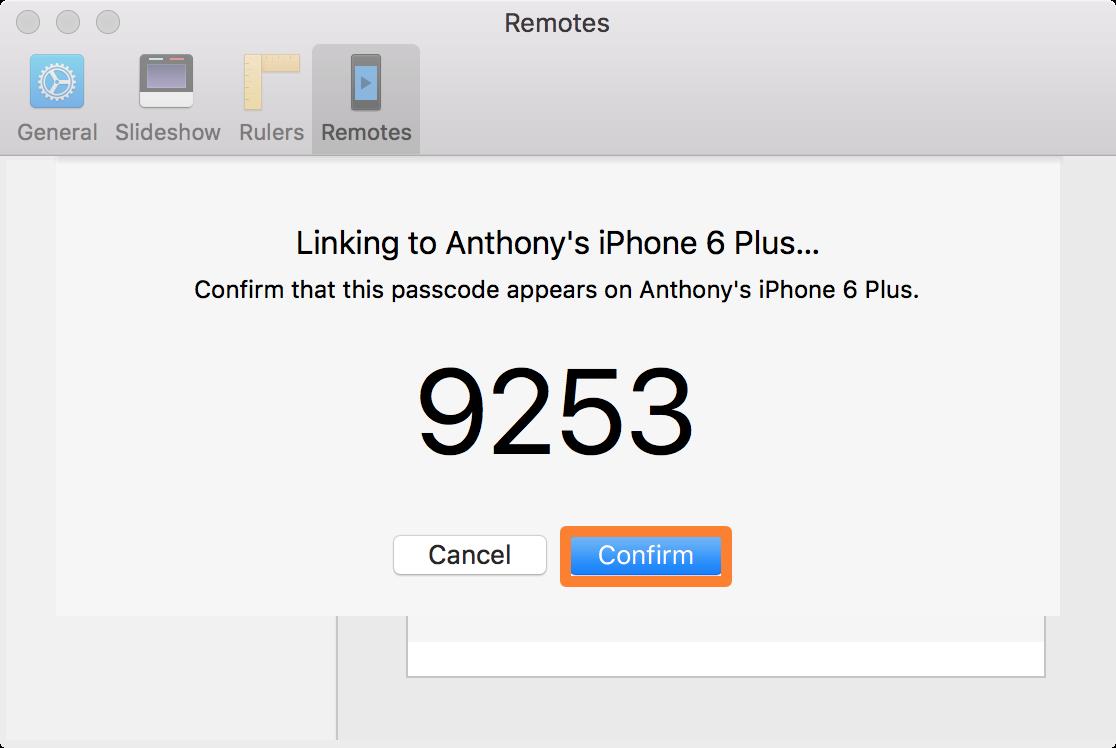Vinculación de Keynote Remote a Mac Confirmar código