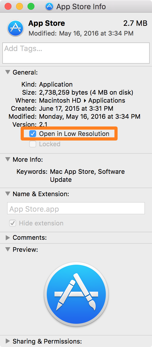 Mac App Get Info Open in Low Resolution