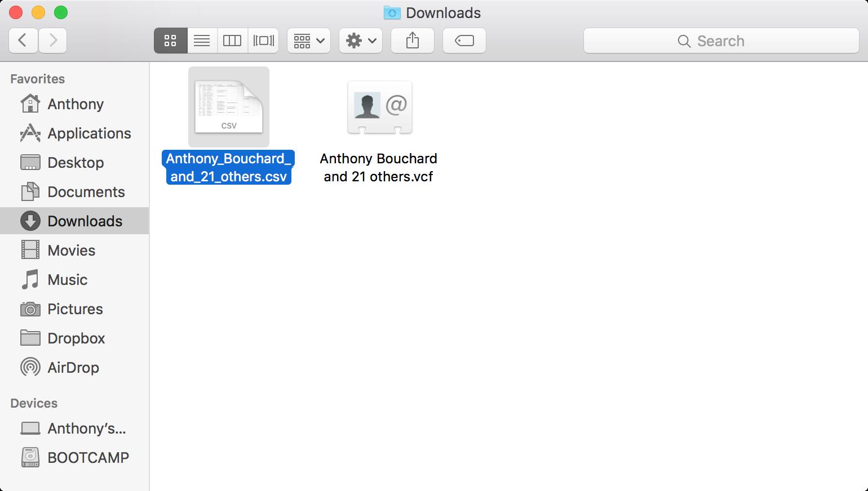 Mac Finder Downloads Folder CSV File