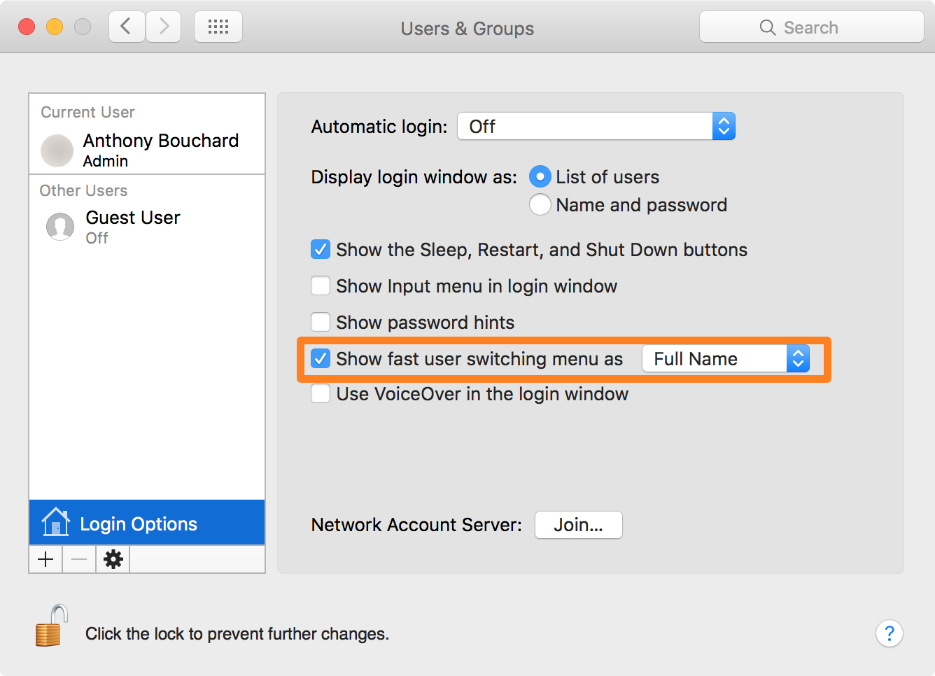 Mac OS X Show fast user switching menu setting