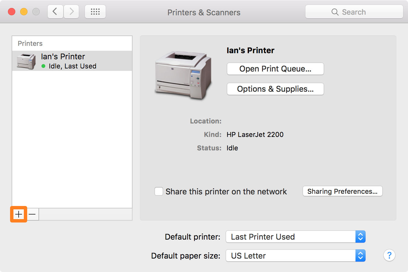 Mac Printers List Add New