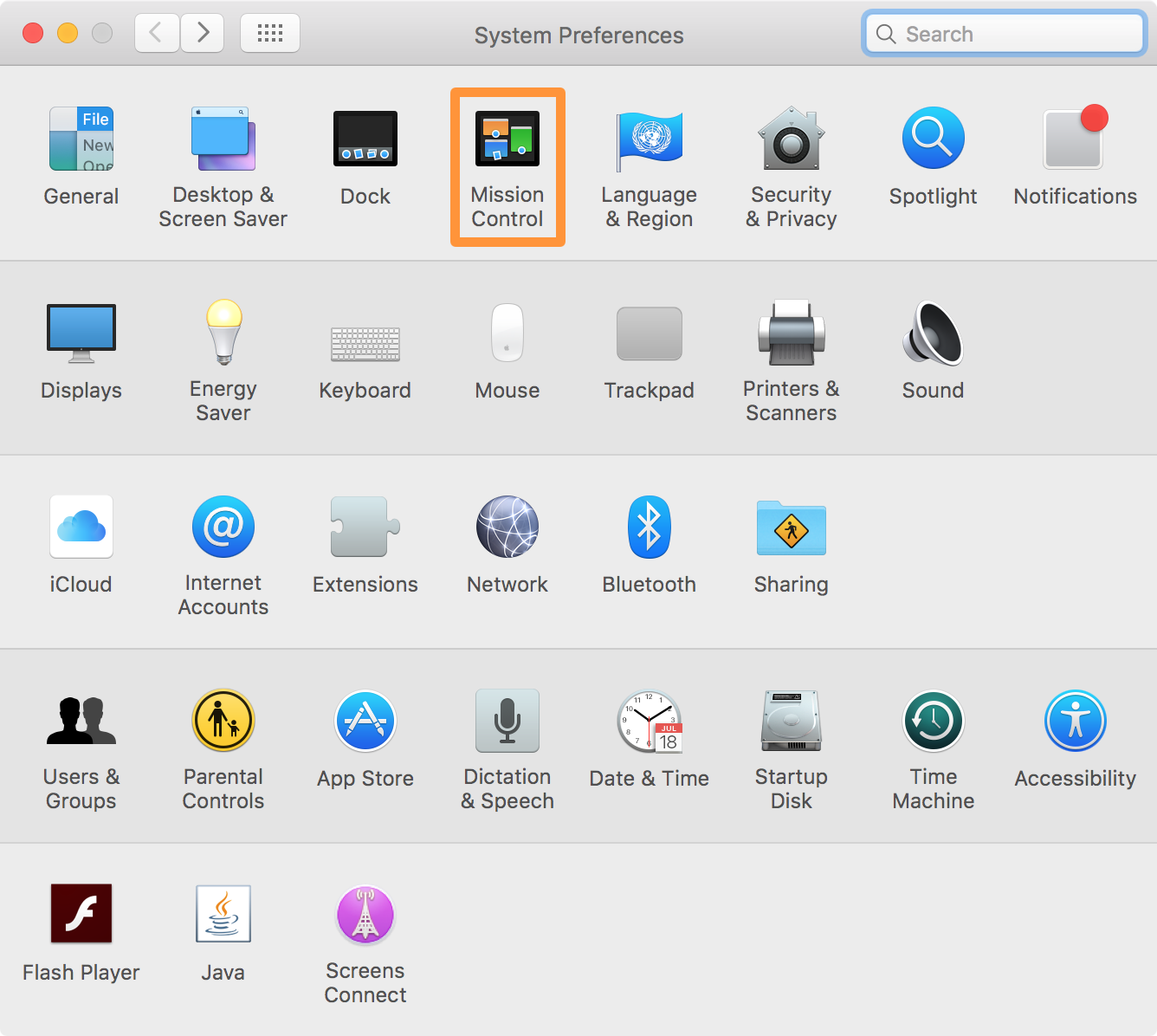 Mission Control Preferences Pane System Preferences Mac