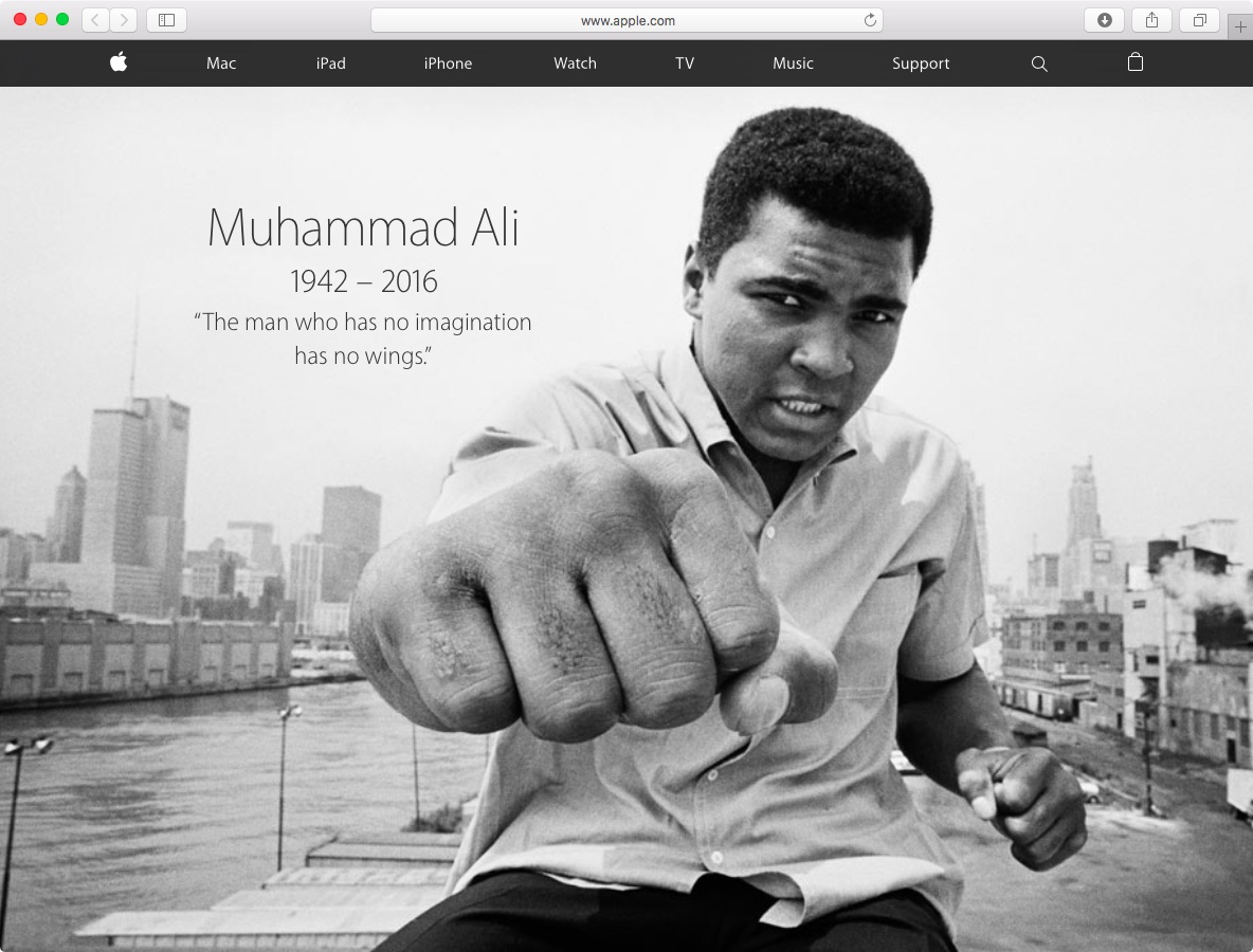 Muhammad Ali Apple tribute web screenshot 001
