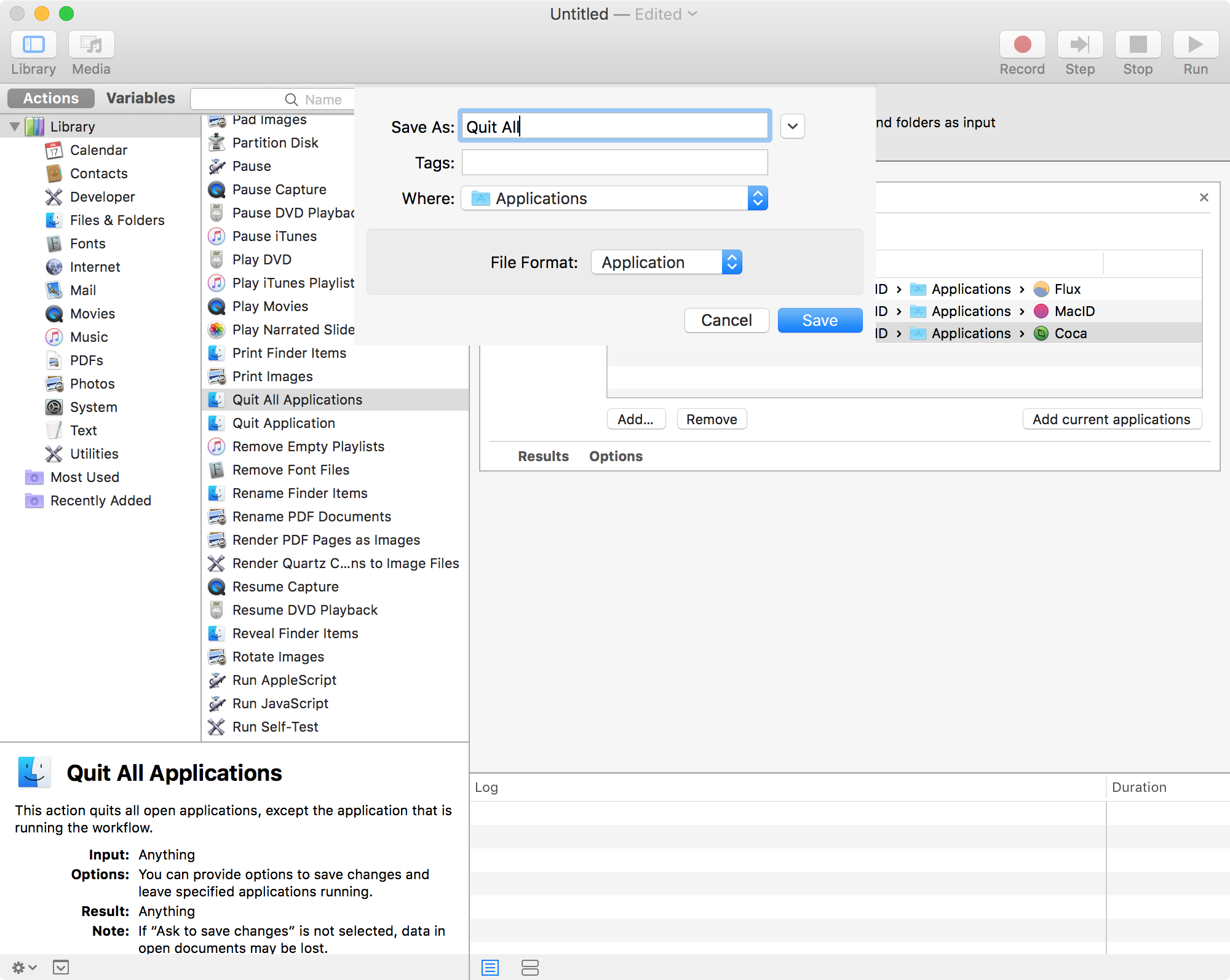 Naming your Automator app