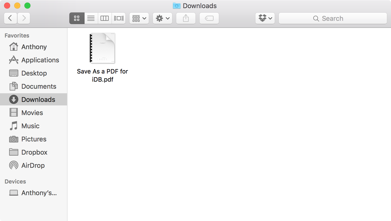 New PDF file created on Mac