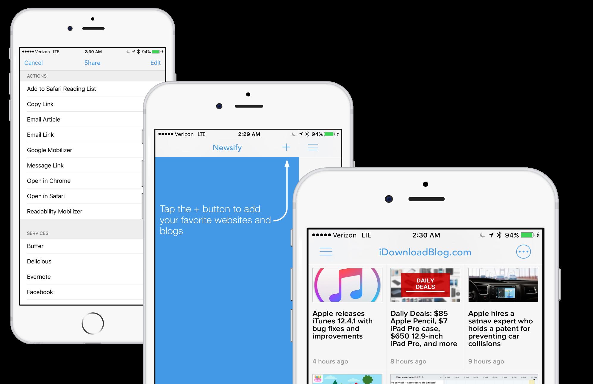 Capturas de pantalla de la aplicación RSS de Newsify