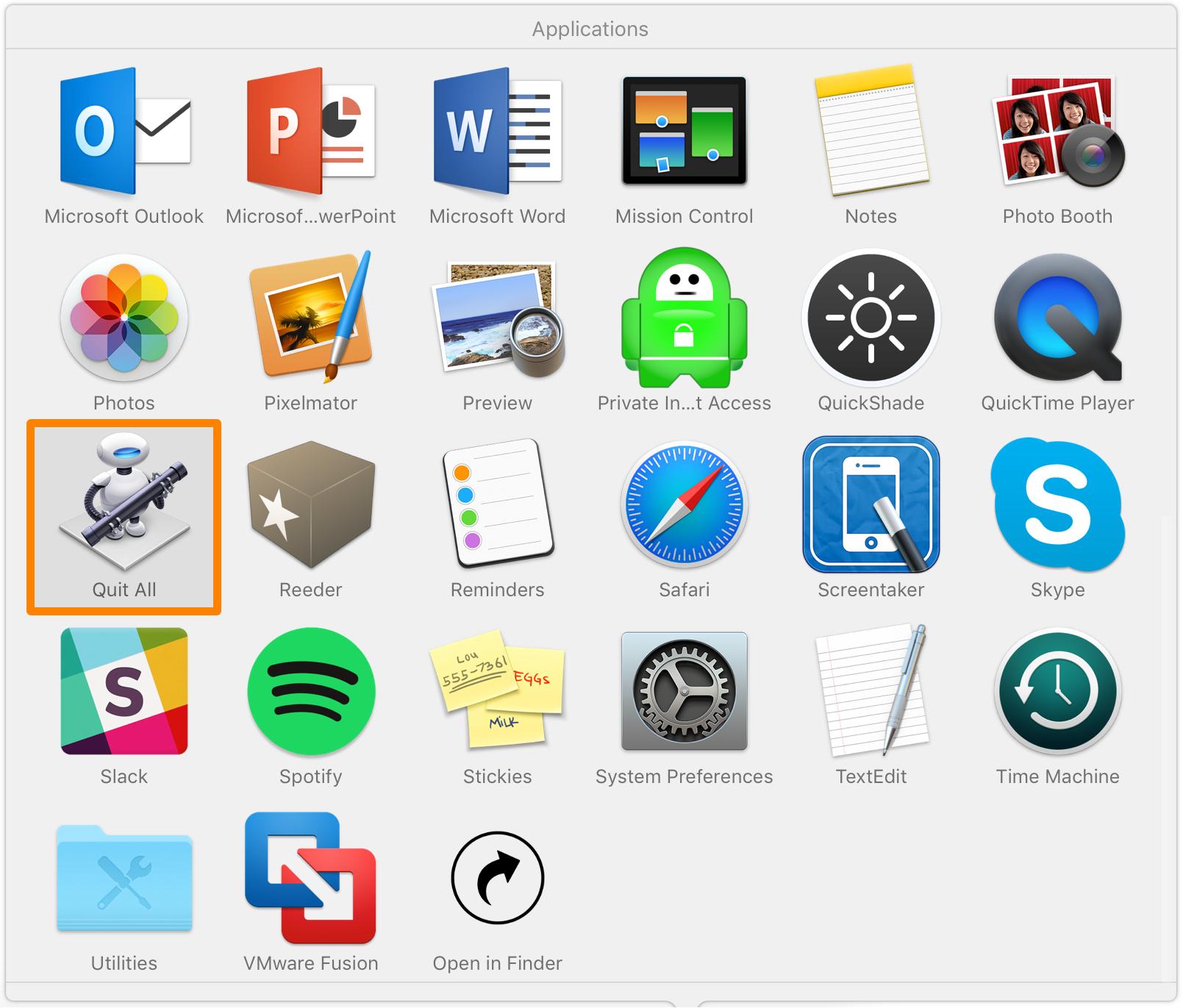 OS X Salir de la aplicación Automator All