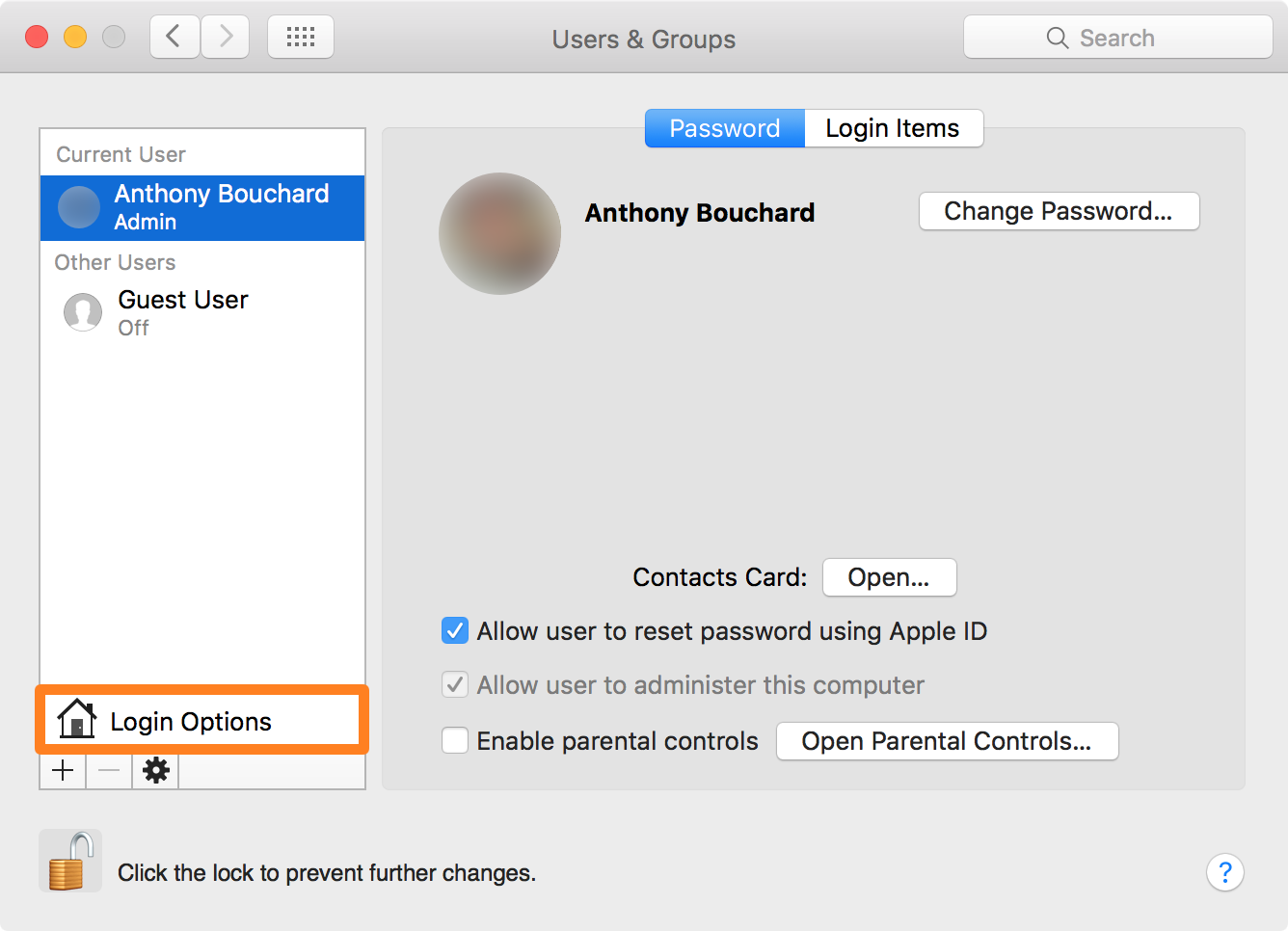 OS X Users and Groups Settings Login Options