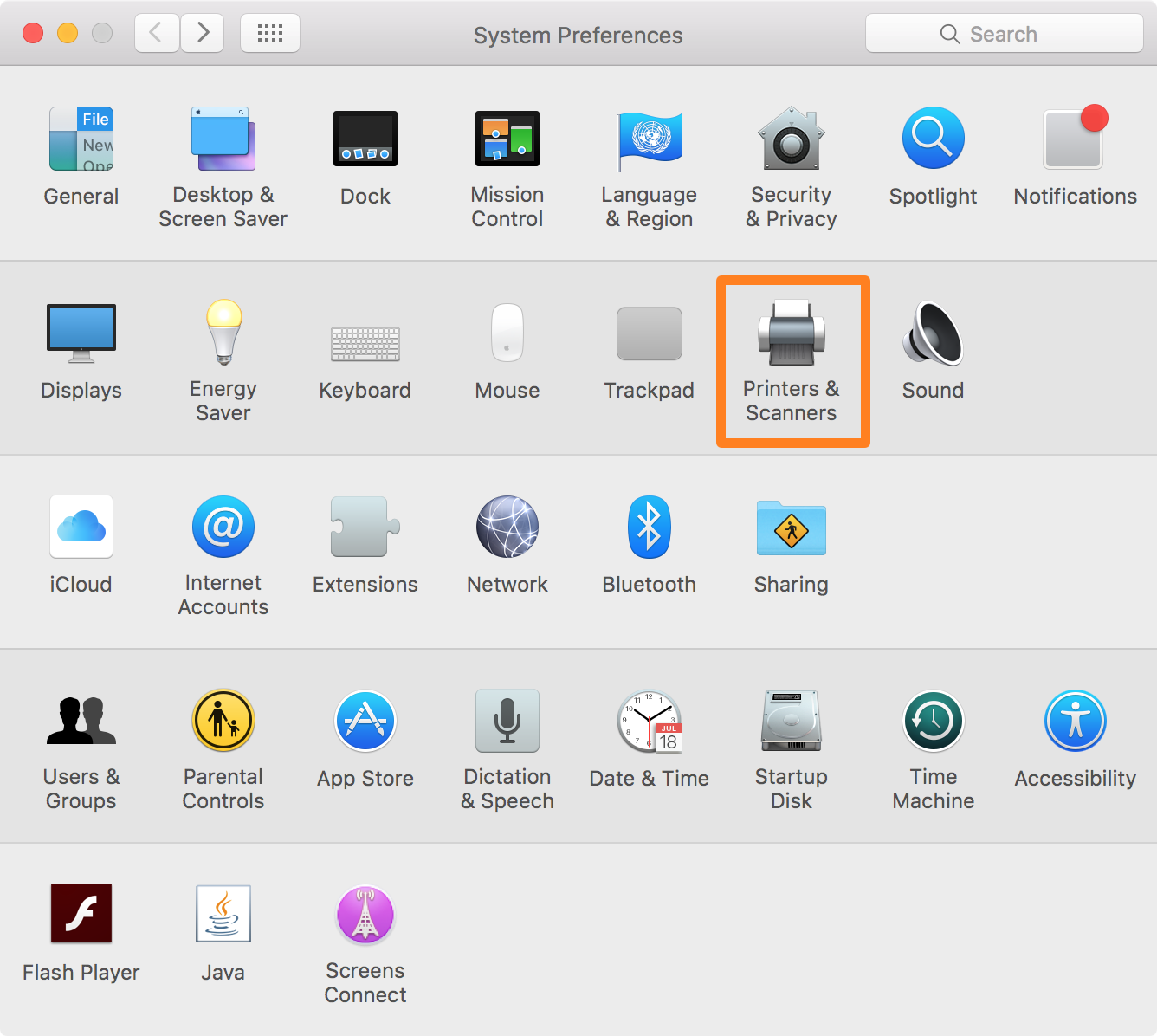 add a new printer to mac - Printers and Scanners preferences pane on Mac