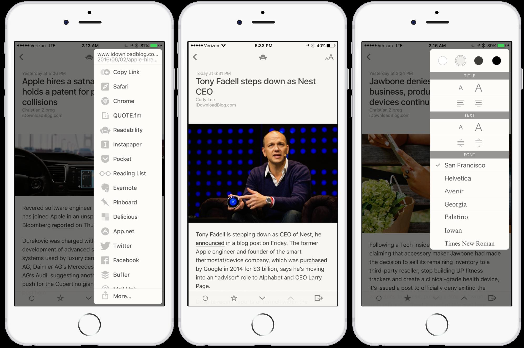 Capturas de pantalla de la aplicación Reeder 3 RSS