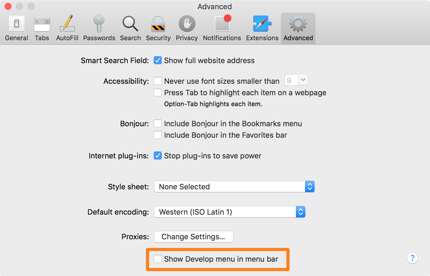 Safari preferences - show Develop in menu bar