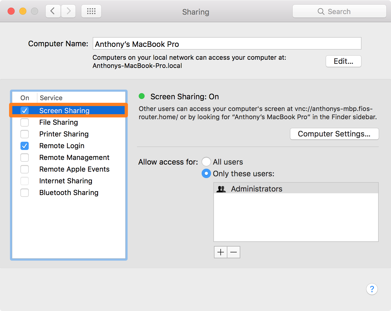 Screen Sharing Enabled on Mac