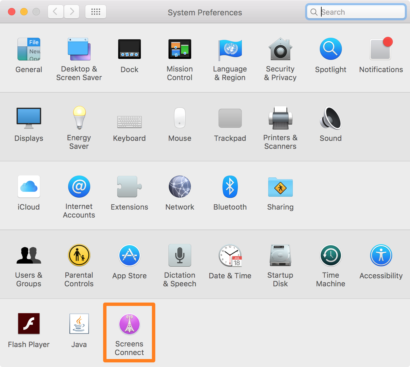 Screens Connect System Preferences Preferences Pane
