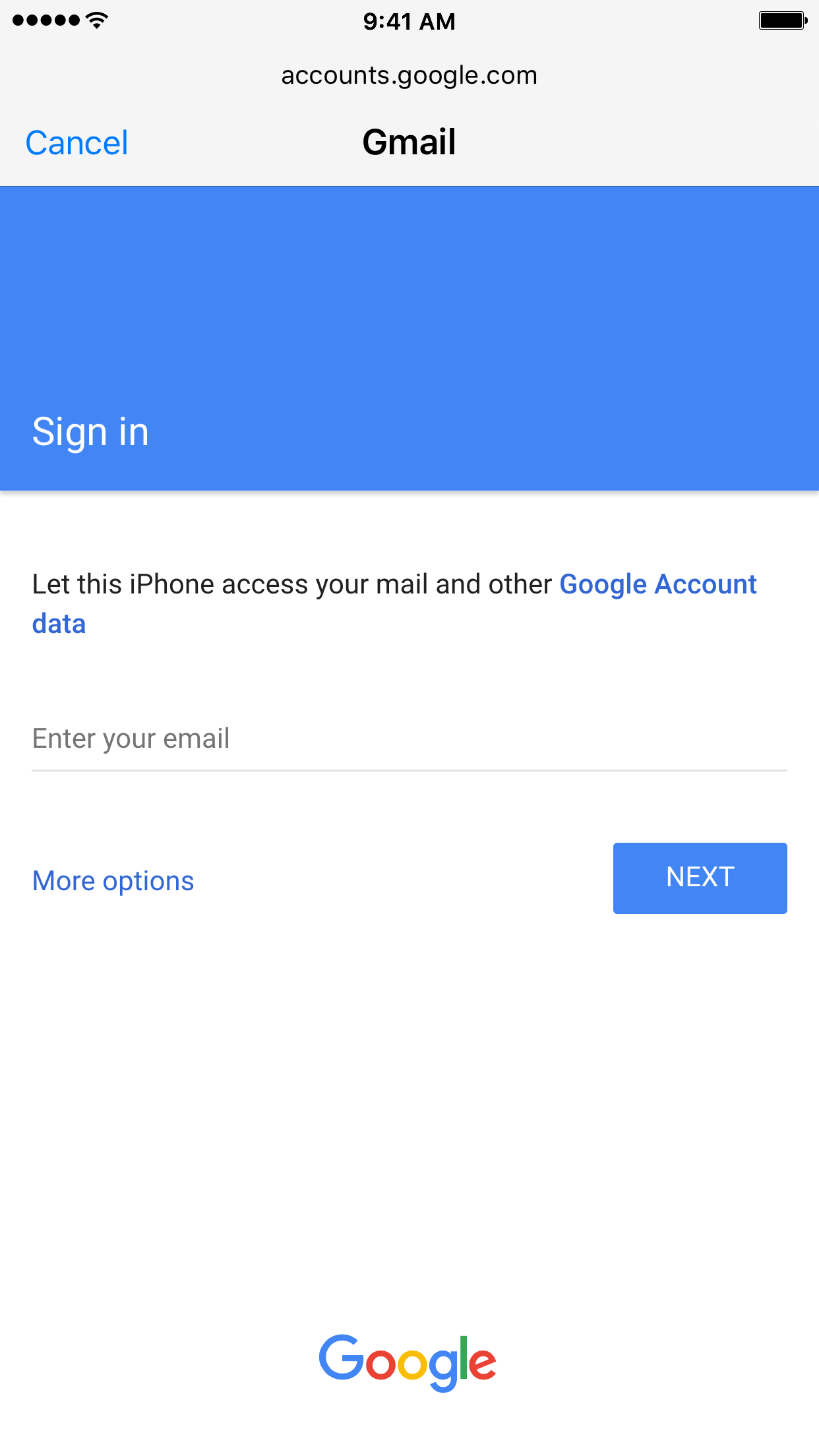 Sign in to Google Account on iOS in Settings Step 2
